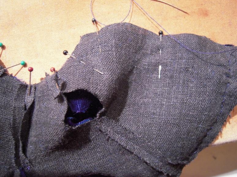 Stitching the lining.
