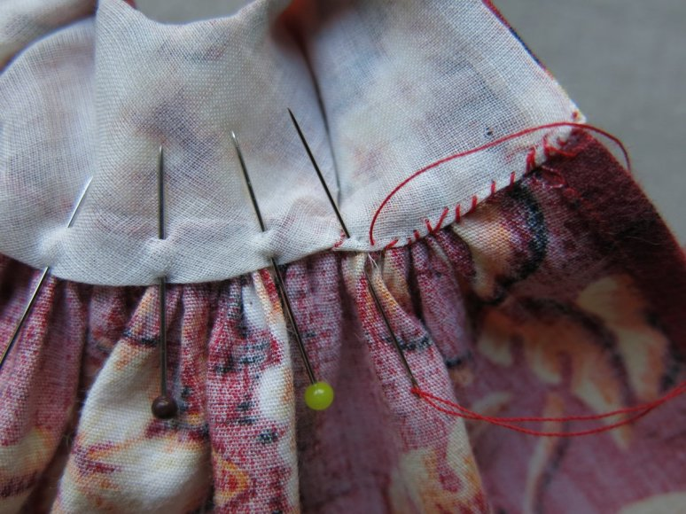 stitch the bodice lining to the skirt