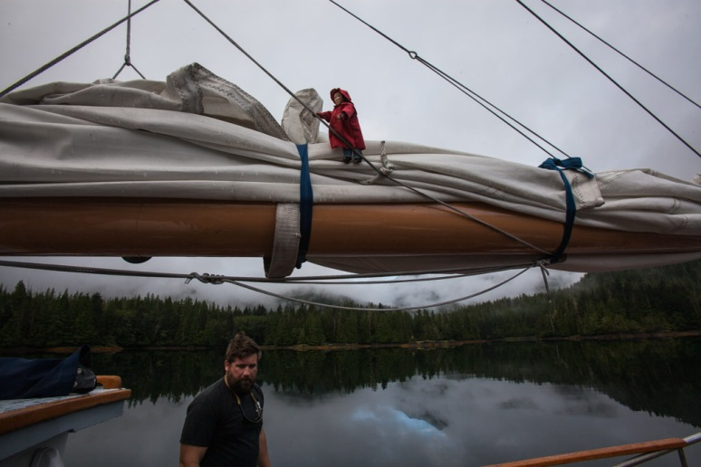 Tying Down The Main Sail for the Night, with Skipper Matt